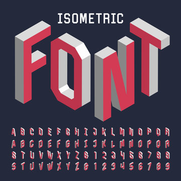 3d isometric alphabet vector font.