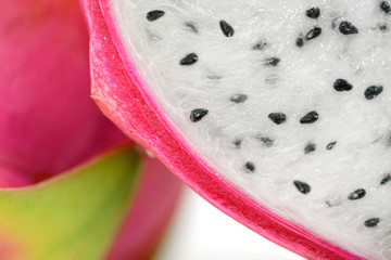 Section half and closeup texture of Dragon fruit