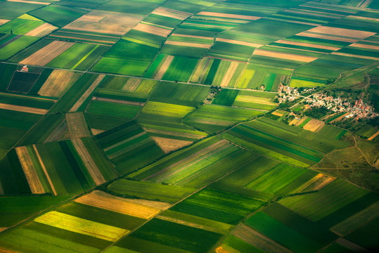 top view aerial photo of settlements and fields