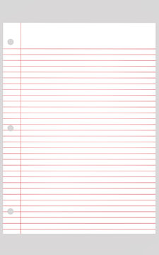 White paper with horizontal and a vertical red line High resolution image