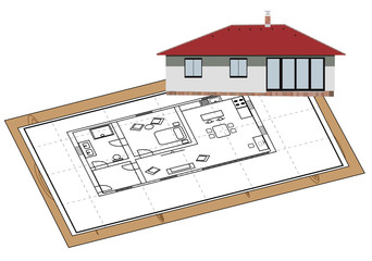 House proposal on paper and model of the facade at the corner