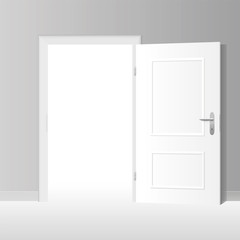 Wide open white door to a bright white room. Vector illustration.