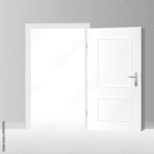 wide open doors. Wide Open White Door To A Bright Room. Vector Illustration. Doors