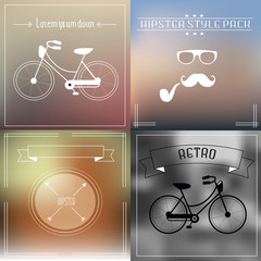 Hipster elements and icons collection with vintage and retro style bicycle