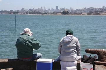 Pêcheurs dans la baie de San Francisco, USA