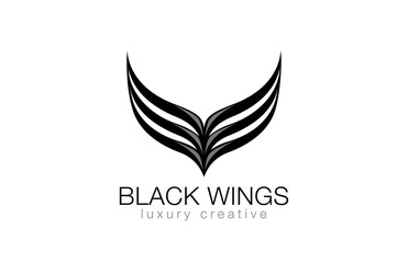 Elegant Black Wings as V letter Luxury Abstract Business Fashion