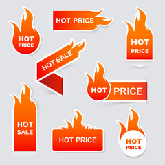Collection of hot sale and hot price promo seals/stickers.Isolat