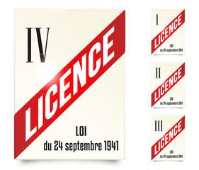 Plaques de licence IV, III , II et I