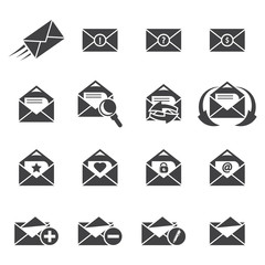 Vector grey Email icons set on white background