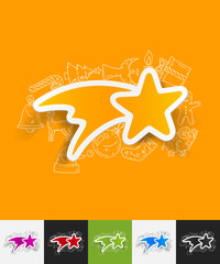 christmas star paper sticker with hand drawn elements