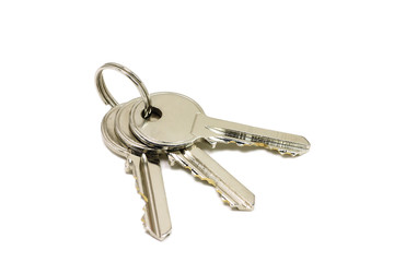 brilliant bunch of keys to the doors on a white background