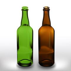 Realistic vector glass beer bottles