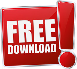 modern red free download button
