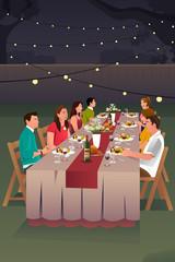 People Having Dinner Outdoor