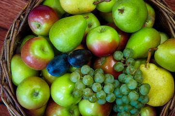 apple, pear, plum and grape