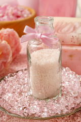 Bottle of pink bath caviar