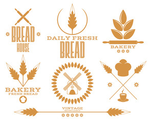 Bakery. Bread. Wheat. Isolated labels on white background