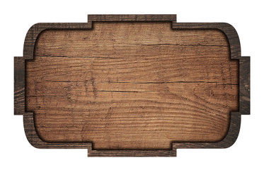Brown wooden signboard, plate, plank and dark frame on white