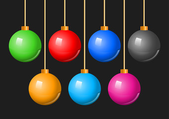 Colorful Christmas Balls Bauble Set. A vector illustration of a collection of colorful hanging Christmas holiday baubles or decorations.