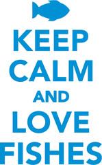 Keep calm saying with fish icon