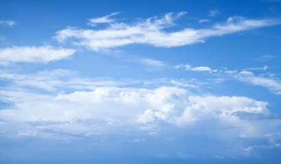 Blue sky with white clouds, abstract natural photo
