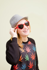 Young funny hipster girl wearing trandy outfit