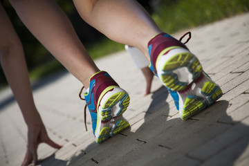 Close up of feet of a runner, training concept