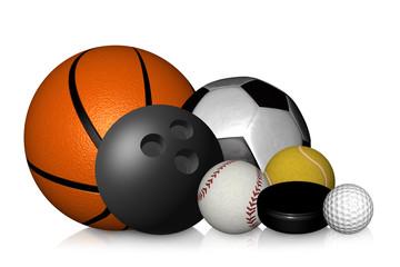 Bälle Fußball Basketball Golfball Tennisball Golfball isoliert auf weißem Hintergrund