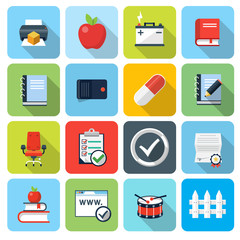 Square flat icons with long shadow, set 9