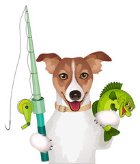 Dog with fishing pole and fish vector illustration isolated on white background