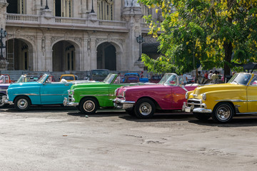 Cuban coloured taxis in Old Havana