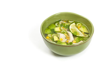 Chicken Avocado Lime Soup. Selective focus.