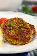 Homemade Crab Cakes. Selective focus.