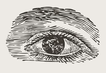 engreved vintage eye