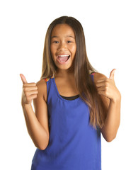 Happy Filipino Girl with Two thumbs up on white background
