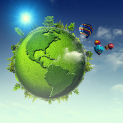 Green planet. Abstract eco backgrounds with blue skies, clouds a