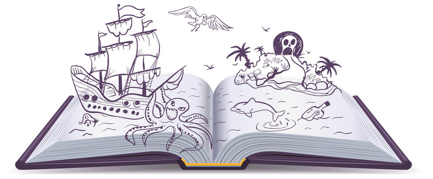 Open book Adventure. Treasures, pirates, sailing ships, adventure. Reading fantasy