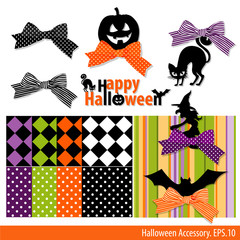 Vector Collection of Halloween ornament. Pattern Backgrounds