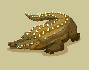 Crocodile with spikes on the back