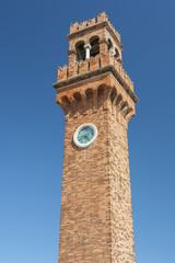 Fototapete - Clock tower, Campo Santo Stefano on the island Murano, Italy