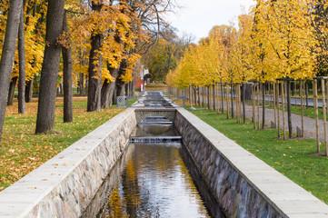 Scenic canal in Kadriorg park on fall time, Tallinn, Estonia