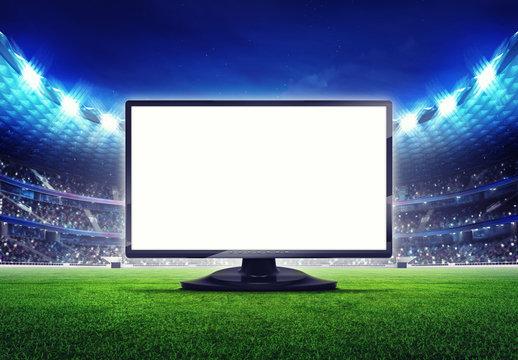football stadium with empty editable tv screen frame
