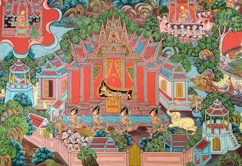 Thai mural painting art