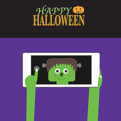 Happy Halloween background with smartphone and little monster se