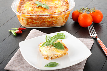 Lasagne with meat and bechamel