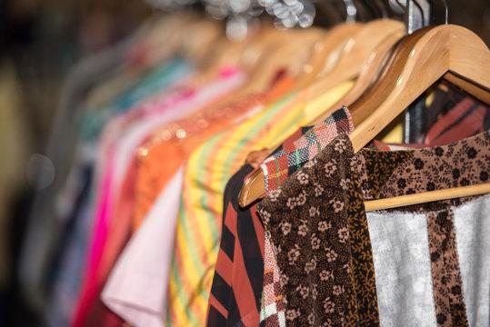 Vintage clothes for sale inside a shop