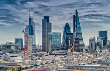 Autocollant pour porte London London City. Modern skyline of business district