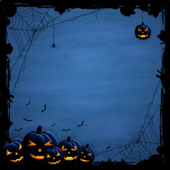 Blue Halloween background with pumpkins