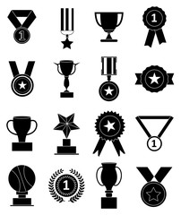Awards medals icons set
