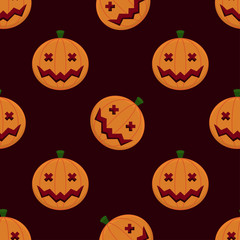 Smiling Pumpkins Seamless Halloween Pattern Bacjground